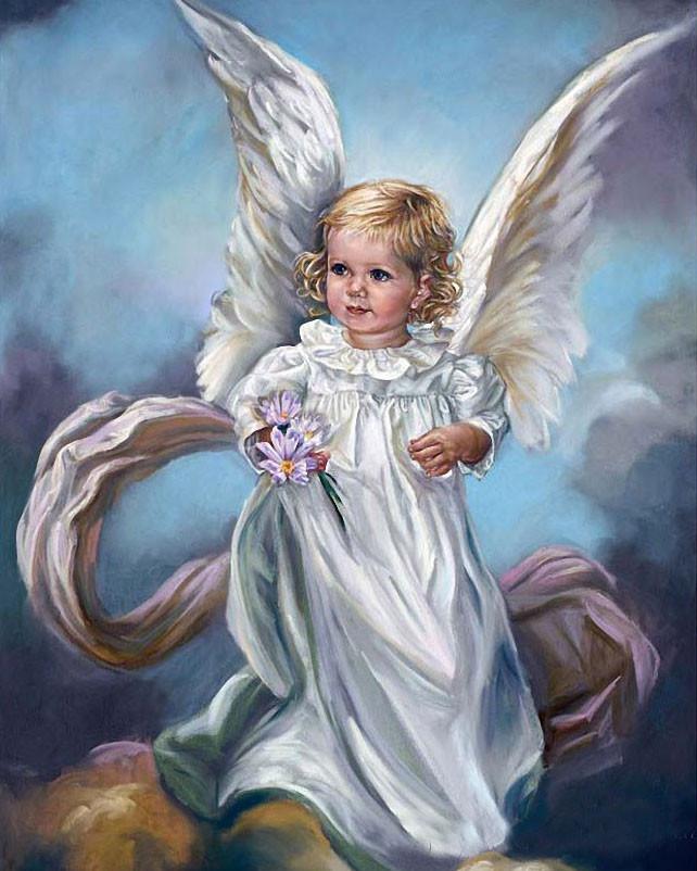 Алмазная вышивка Ангел с цветами 158