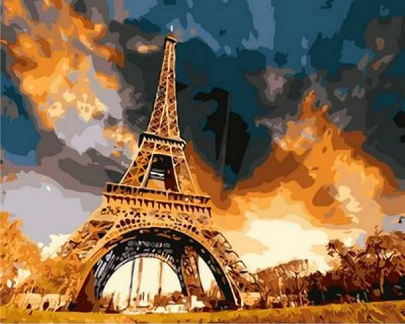 Картина по номерам Закат над Парижем, 40x50 см., Mariposa