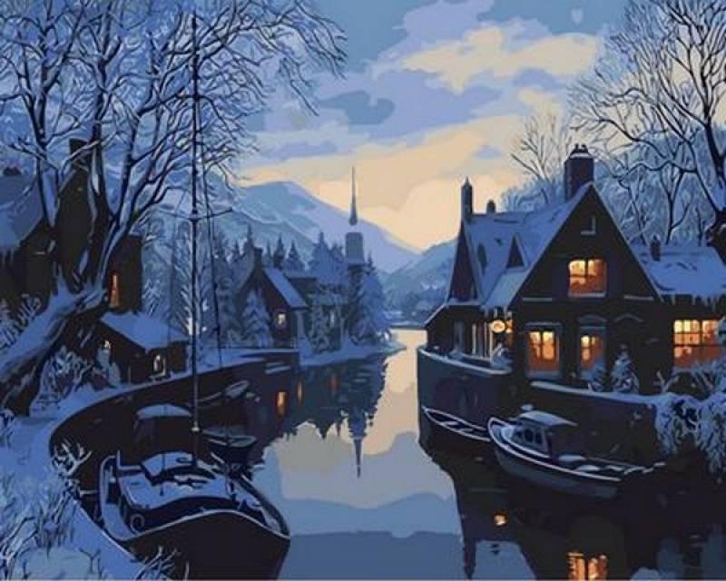 Картина по номерам Зима в рыбацкой деревне. Худ. Лушпин Евгений , 40x50 см., Mariposa
