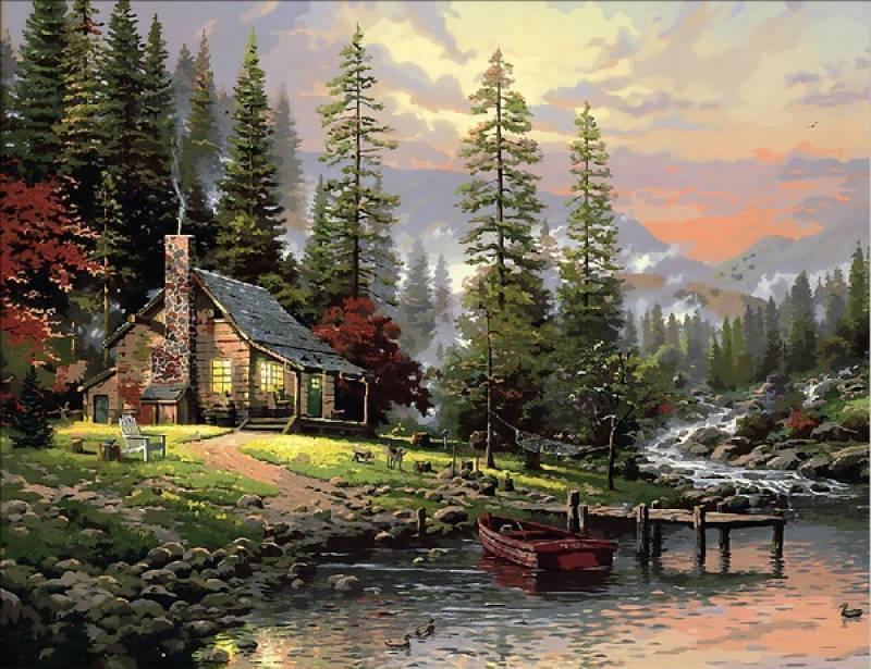 Картина по номерам Охотничий домик. Худ. Томас Кинкейд, 40x50 см., Mariposa