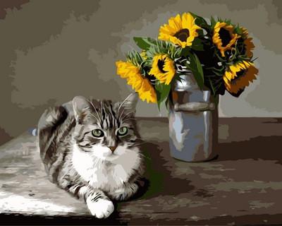 Картина по номерам Котик и букет подсолнухов, 40x50 см., Mariposa