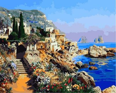 Картина по номерам Бухта Марина Капри в Италии. Худ. Алоис Арнеггер, 40x50 см., Mariposa
