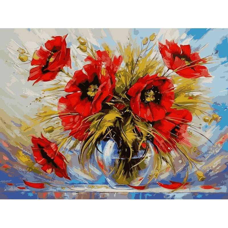 Картина по номерам Маки в стеклянной вазе. Худ. Зиновий Сыдорив, 30x40 см., Babylon