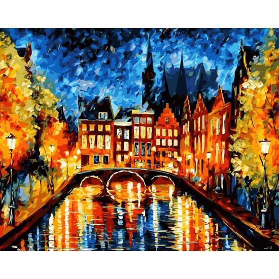 Картина по номерам Ночь в Амстердаме. Худ. Леонид Афремов, 40x50 см., Babylon