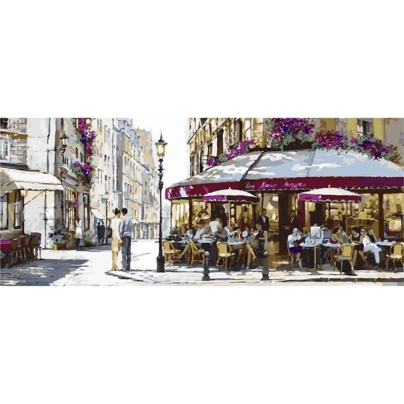Картина по номерам Парижское кафе (Триптих), 50x150 см., Babylon
