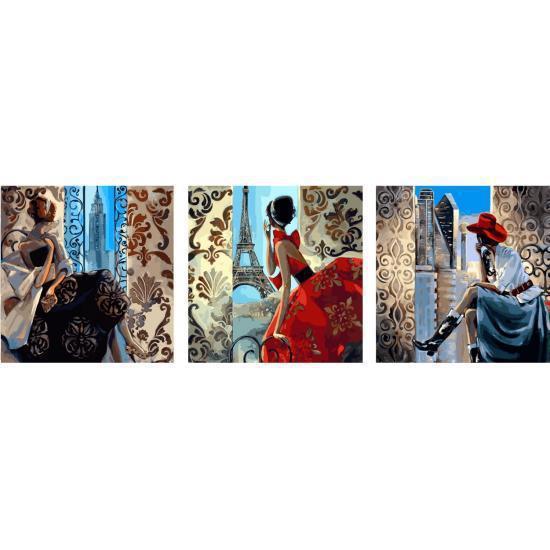 Картина по номерам Нью-Йорк Париж Сидней (Триптих), 50x150 см., Babylon