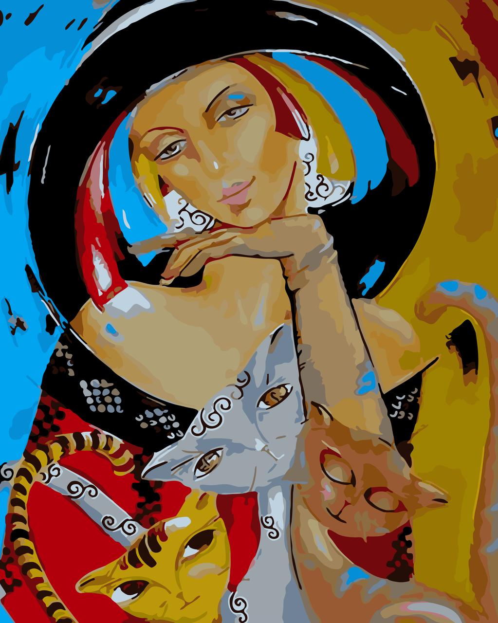 Картина по номерам Леди с котами, 40x50 см., Art Story