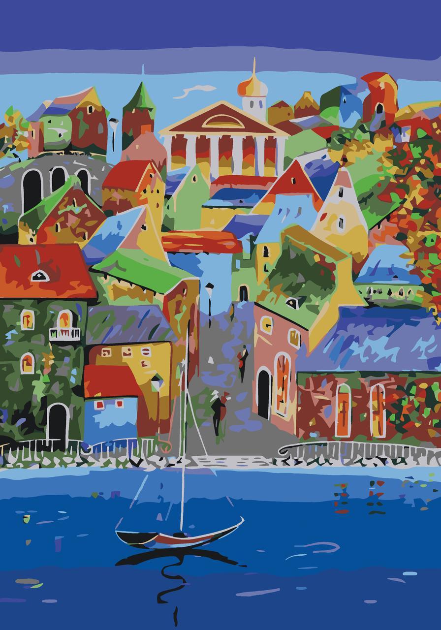 Картина по номерам Яркий городок, 35x50 см., Идейка