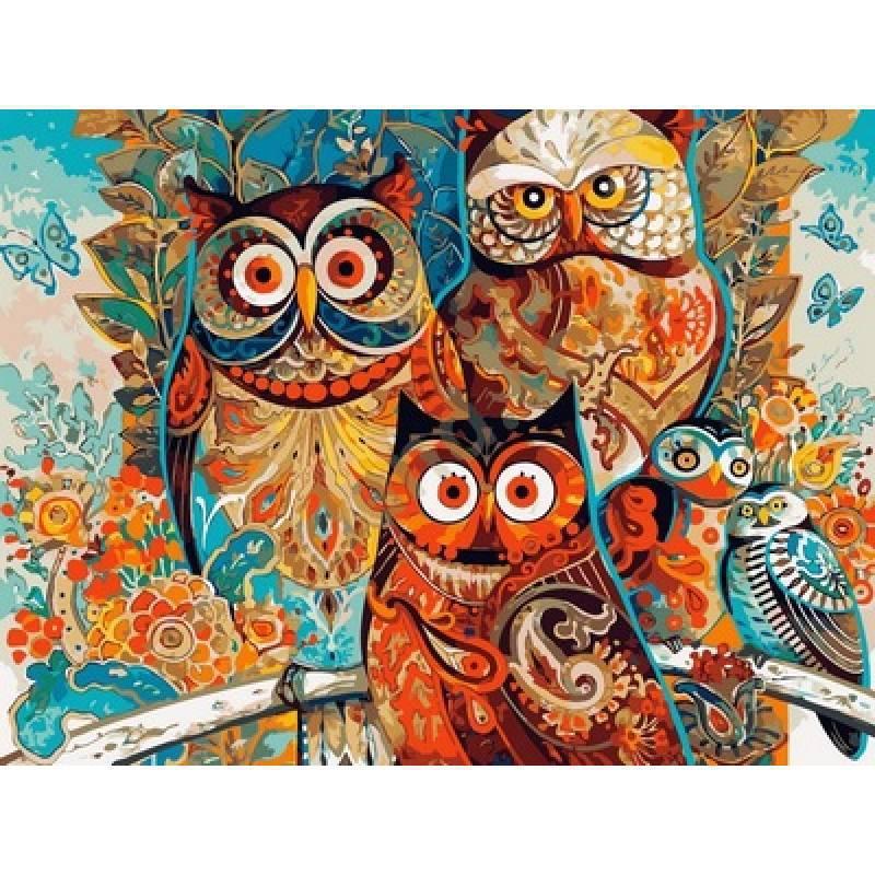 Картина по номерам Мудрые совы, 40x50 см., Babylon Premium