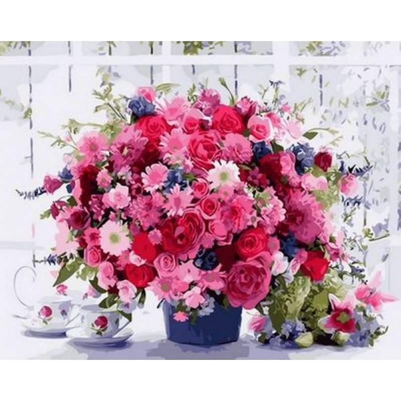 Картина по номерам Розовые хризантемы, 40x50 см., Babylon Premium