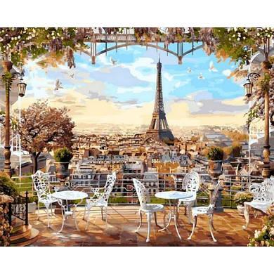 """Картина по номерам """"Кафе с видом на Эйфелеву башню"""", 40x50 см., Babylon Premium"""