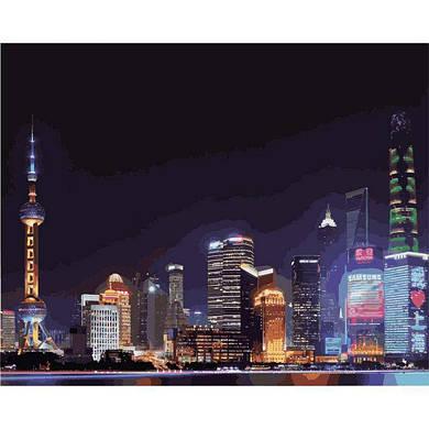 """Картина по номерам """"Ночной Шанхай"""", 40x50 см., Идейка"""