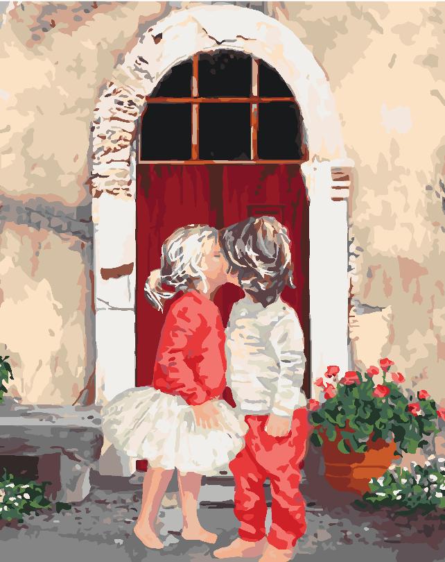 """Картина по номерам """"Первый поцелуй 2"""", 40x50 см., Идейка"""