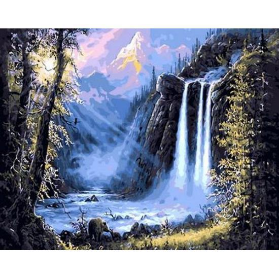 Картина по номерам Горный водопад. Худ. Джесси Барнс, 40x50 см., Mariposa
