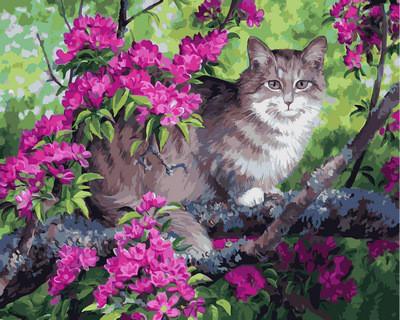 Картина по номерам Кот и цветущее дерево. Худ. Персис Клейтон Вейерс, 40x50 см., Babylon
