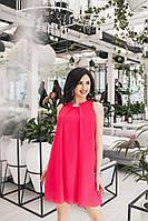 Малиновое женское платье декорировано лентой со стразами и ярко переливающимися на свету. Арт - 6977/52