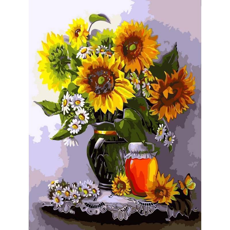 Картина по номерам Мёд и подсолнухи, 40x50 см., Babylon Premium