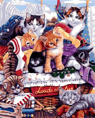 Картина по номерам Озорные котята. Худ. Дженни Ньюлэнд, 40x50 см., Mariposa