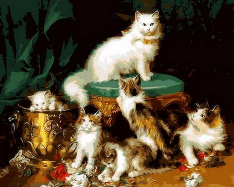 Картина по номерам Кошачье семейство, 40x50 см., Mariposa