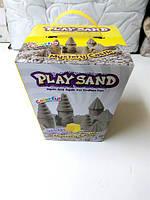 Кинетический песок, набор 3 цвета, 800г, формочки, инструм, в кор. 16*16 см