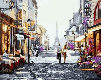 Картина по номерам Летний вечер в Париже. Худ. Ричард Макнейл, 40x50 см., Babylon Premium
