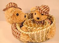 Корзинка плетеная Мишка 2 в 1