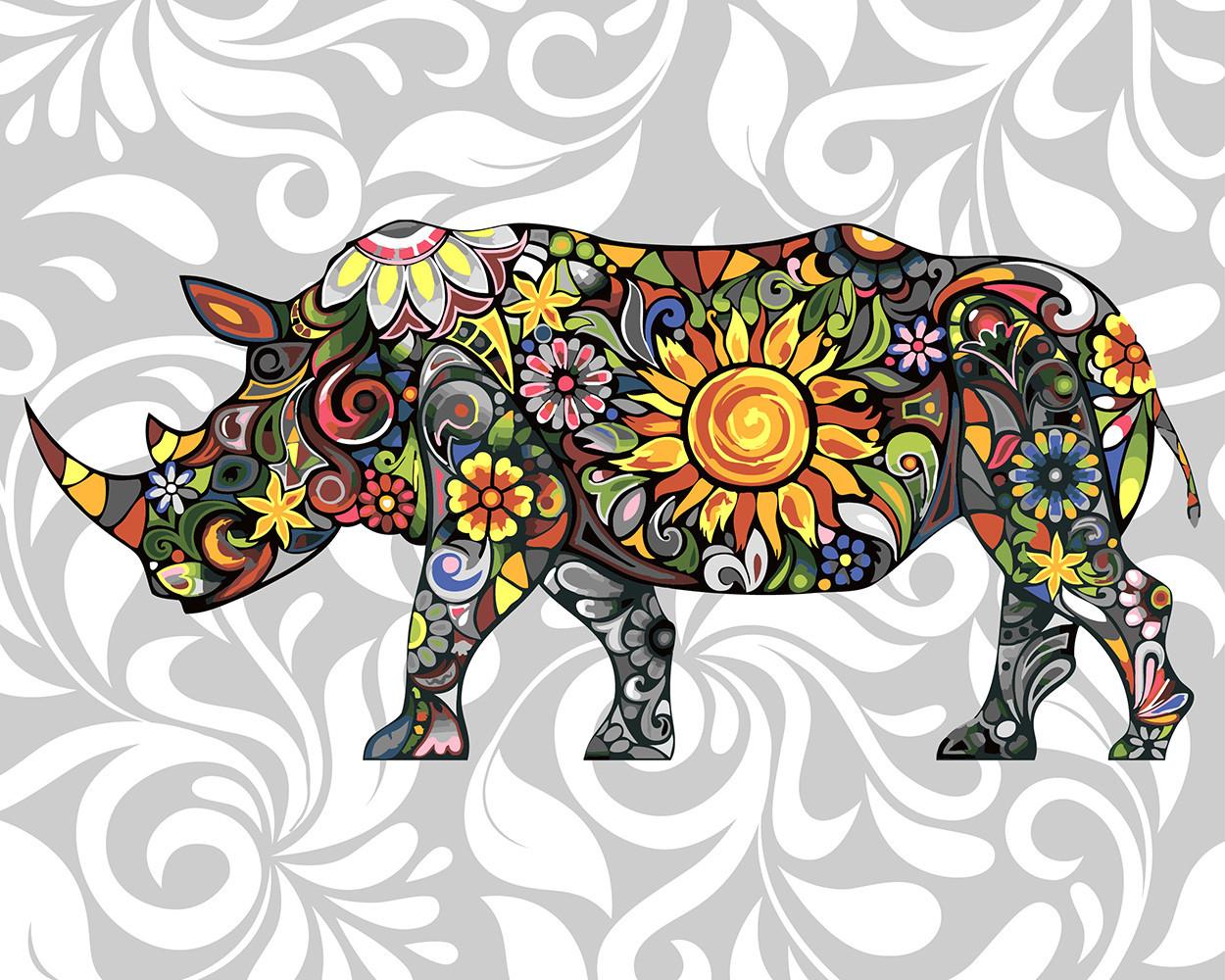 Картина по номерам Цветочный носорог, 40х50 см., Rainbow Art