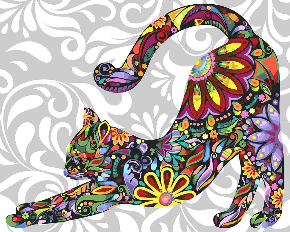 Картина по номерам Цветочная кошка, 40х50 см., Rainbow Art