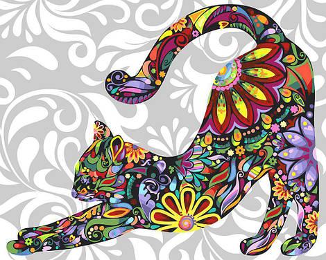 "Картина по номерам ""Цветочная кошка"", 40х50 см., Rainbow Art"