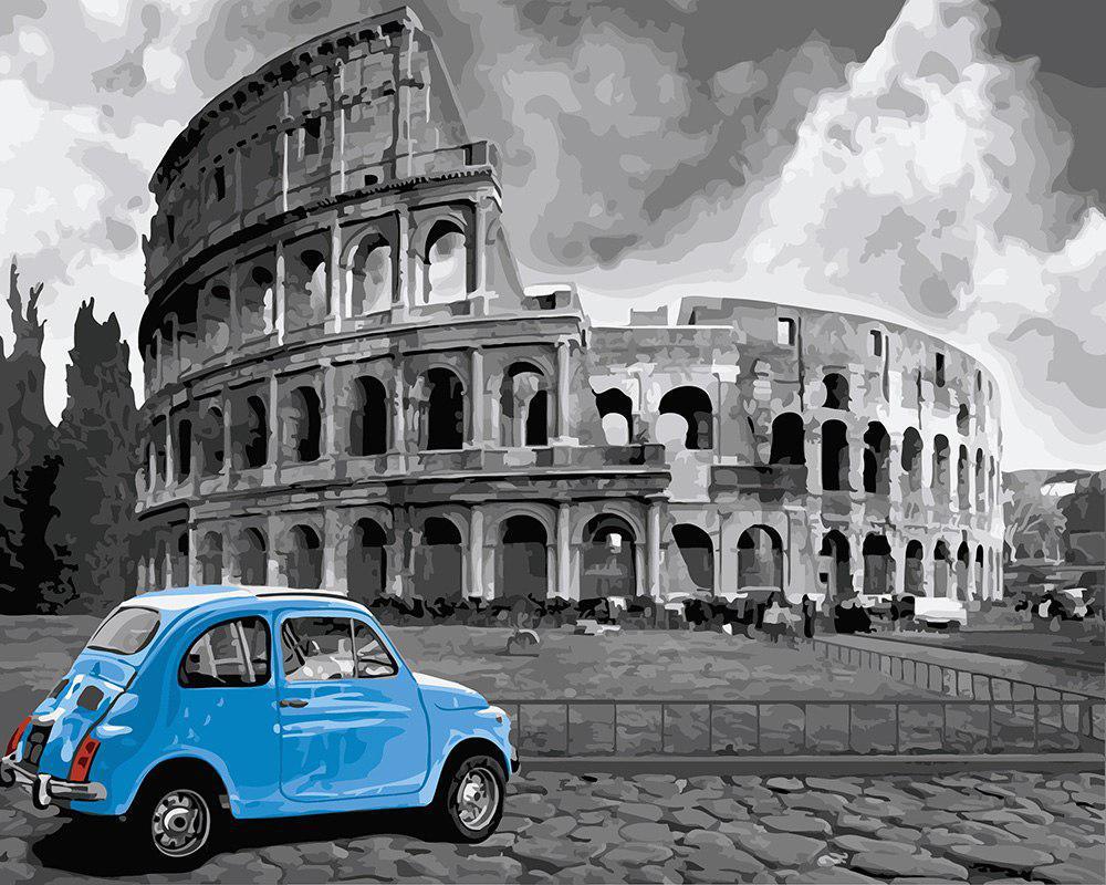 Картина по номерам Голубое авто у Колизея, 40х50 см., Rainbow Art