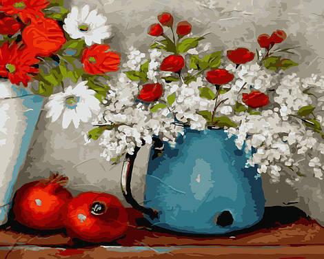 """Картина по номерам """"Цветы и гранаты"""", 40х50 см., Rainbow Art"""