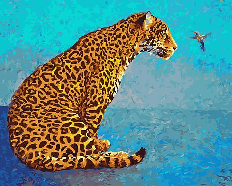 """Картина по номерам """"Леопард и колибри"""", 40х50 см., Rainbow Art"""