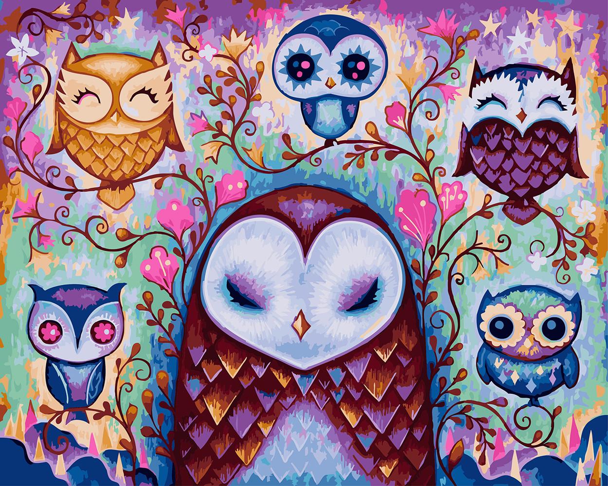 Картина по номерам Сказочные совы, 40х50 см., Rainbow Art