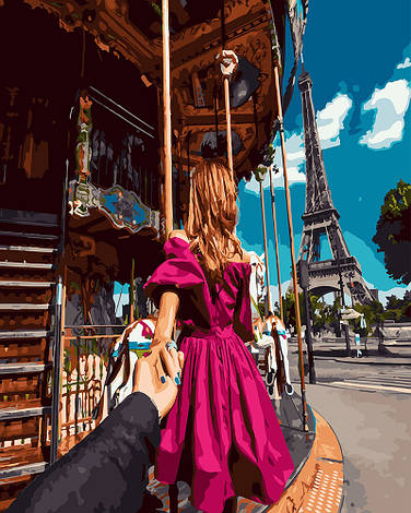 """Картина по номерам """"Следуй за мной.Париж"""", 40х50 см., Rainbow Art"""