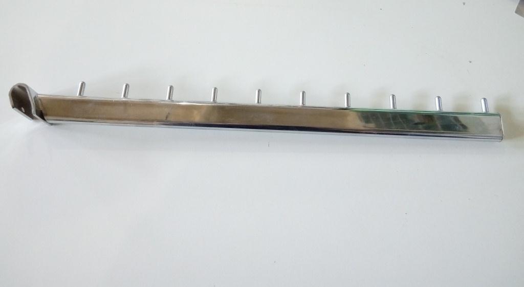 Флейта кронштейн на перемичку  довжиною 450мм хром для рейкового торгового обладнання