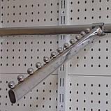 Флейта кронштейн на перемичку вигнутий (пелікан) довжиною 400мм хром для рейкового торгового обладнання, фото 3