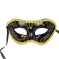 Черная мужская маска карнавальная с узором