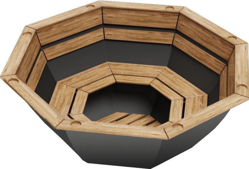 Чан для бани на дровах Пан Чан железный средний без топки обшивка сосна