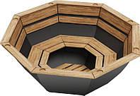 Чан для бани на дровах Пан Чан железный большой без топки обшивка сосна