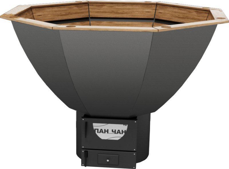 Чан для бани на дровах Пан Чан железный малый с топкой обшивка сосна