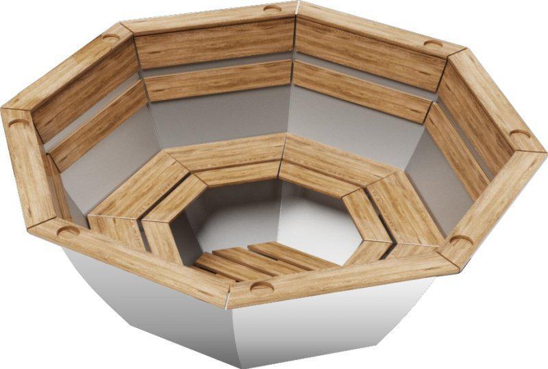 Чан для бани на дровах Пан Чан из пищевой нерж. стали средний без топки обшивка сосна