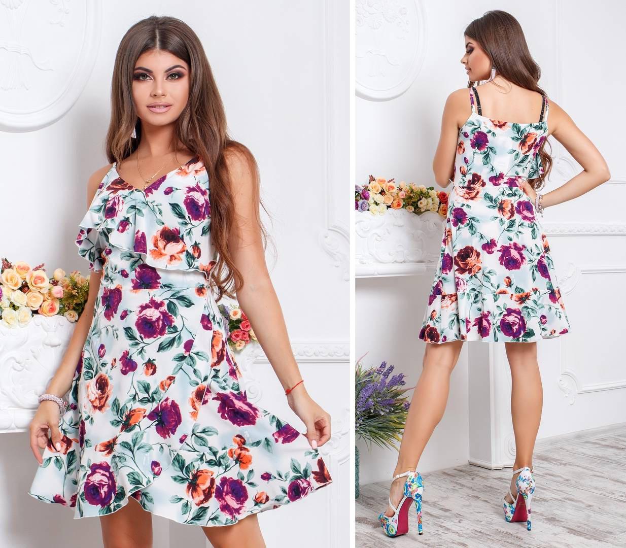 Плаття літнє на запах з поясом, новинка 2018, модель 112, принт - бордові і помаранчеві троянди