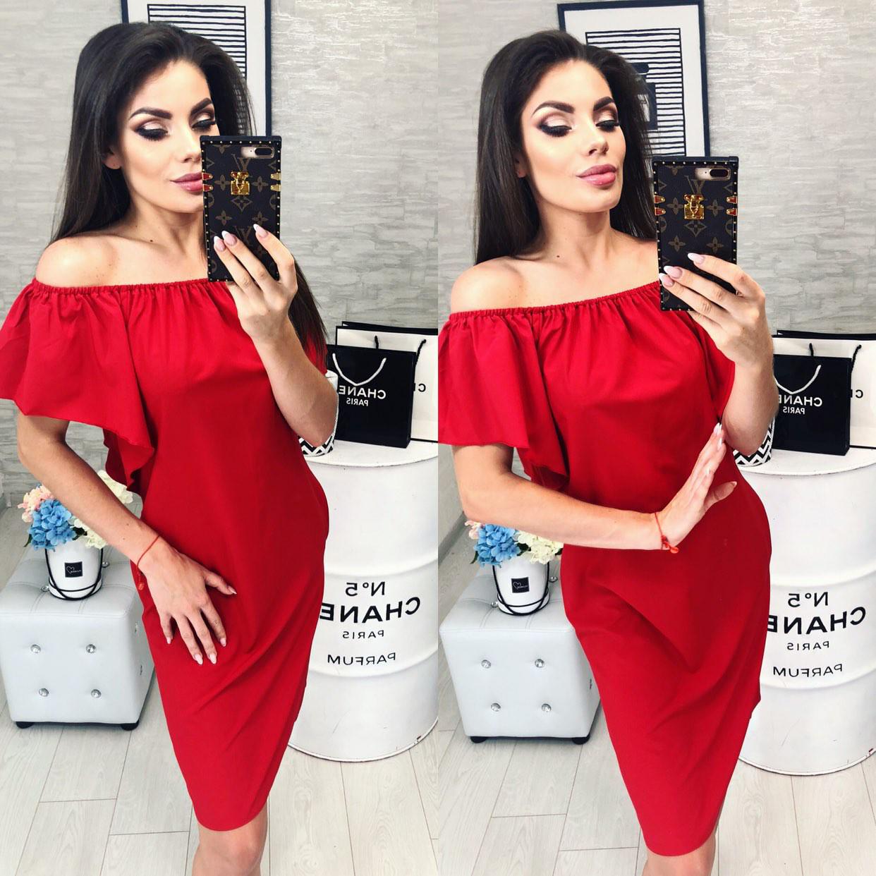 Плаття літнє на резинці, з кишенями, модель 114, колір - червоний