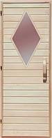 Деревянная дверь с матовым стеклом для сауны Украина 80х200 липа