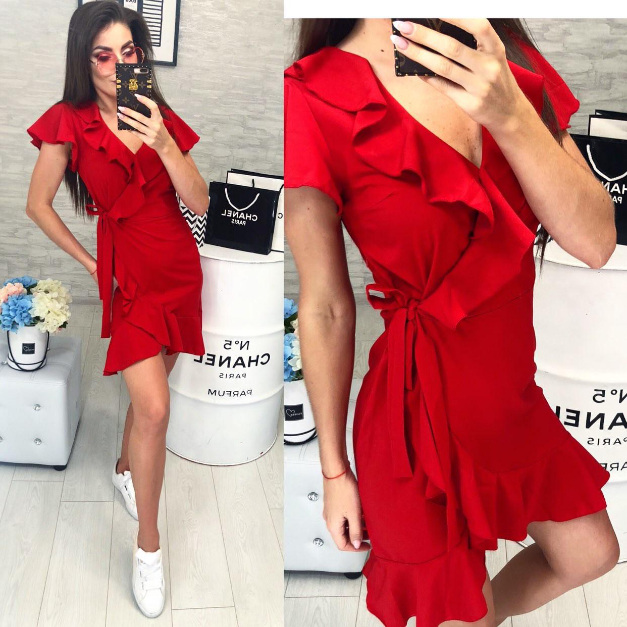 Платье летнее на запах с поясом, новинка 2018, модель 115, цвет - красный