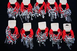 Браслет красная нить плетеный с жемчужинками и амулетом на застежке, 100 штук(10 видов по 10 штук)
