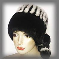"""Меховая шапка из кроля """"кубанка"""" чёрная с белой отделкой"""