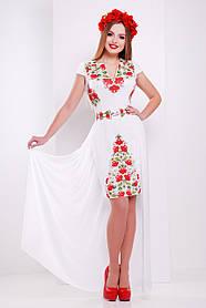 Красивое белое  платье с маками в этно-стиле шифон размер S, M, L