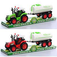 Трактор 2012-21 (72шт) инер-й, с прицепом (цистерна), 32см, 2цвета, в слюде, 35-8,8-11см (шт.)