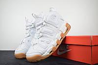 Кросівки Nike Air More Uptempo New, білі/бежева ступня (ТОП репліка), фото 1